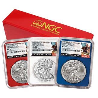 2017 W Red, White & Blue Burnished Silver Eagles NGC MS70 1st Day Issue Black Eagle Label