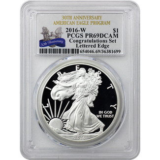 2016 W Silver Eagle PCGS PR69 DCAM Congratulations Set 30th Anniversary Label