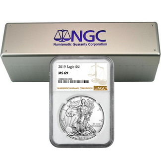 2019 Silver Eagle NGC MS69 Brown Label (20 count) + NGC Box