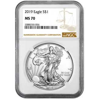 2019 Silver Eagle NGC MS70 Brown Label