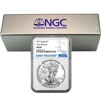2019 Silver Eagle NGC MS69 ER Blue Label (20 count) + NGC Box