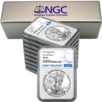 2019 Silver Eagle NGC MS70 ER Blue Label (10 count) + NGC Box