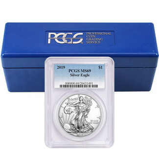 2019 Silver Eagle PCGS MS69 Blue Label (20 count) + PCGS Box