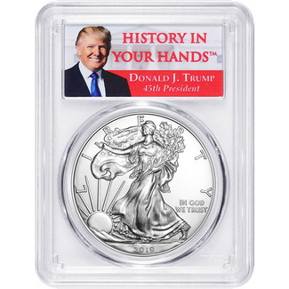 2019 Silver Eagle PCGS MS70 Trump-History in Your Hands Label