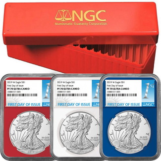 2019 W Red, White & Blue Proof Silver Eagles NGC PF70 Ultra Cameo First Day Issue