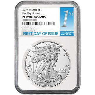 2019 W Proof Silver Eagle NGC PF69 Ultra Cameo First Day Issue Label White Core
