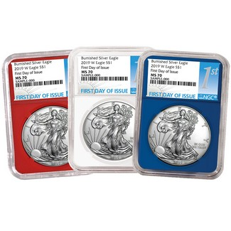 2019 W Red, White & Blue Burnished Silver Eagles NGC MS70 First Day Issue 1st Label
