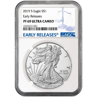 2019 S Proof Silver Eagle NGC PF69 Ultra Cameo Early Releases Blue Label