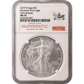 2019 W Burnished Silver Eagle NGC MS70 ANA Releases ANA Label