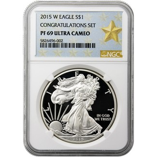 2015 W Silver Eagle NGC PF69 Ultra Cameo Congrats Set Gold Star Label