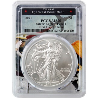 2021 Heraldic Silver Eagle PCGS MS70 First Day Issue West Point Frame
