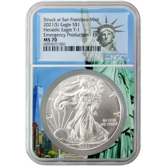 2021 (S) Struck at San Francisco Silver Eagle 'Emergency Production' NGC MS70 ER S.O.L. Core