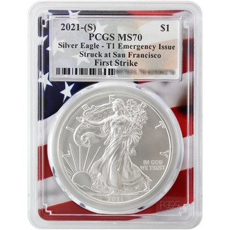 2021 (S) Struck at S.F. Silver Eagle 'Emergency Issue' PCGS MS70 First Strike Flag Picture Frame