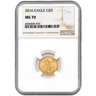 2016 $5 Gold Eagle NGC MS70 Brown Label
