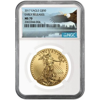 2017 $50 1oz Gold Eagle NGC MS70 ER Eagle Label