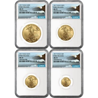 2017 4pc Gold Eagle Set NGC MS70 ER Eagle Label