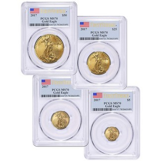 2017 4pc Gold Eagle Set PCGS MS70 First Strike Label