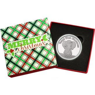 2017 Baby's First Christmas Baby Elephant 1oz .999 Silver Medallion