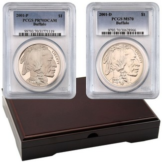 2001 Buffalo Silver Dollar PCGS Perfect Pair