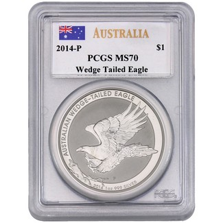 2014 P $1 Silver BU Australian Wedge Tailed Eagle PCGS MS70 Mercanti Signed
