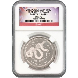 2013 P Australia Silver 50c Year of the Snake NGC MS70 Early Releases Flag Label