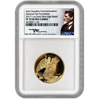 2017 1oz Proof Gold Ultra High Relief Winged Liberty NGC PF70 Mercanti Signed