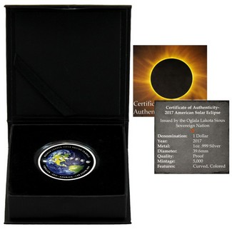 2017 $1 American Solar Eclipse 1oz Silver Colorized Curved Proof