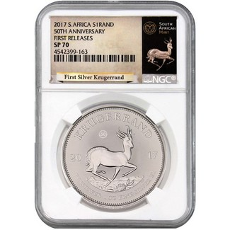 2017 South Africa Silver Krugerrand NGC SP70 First Releases White Core