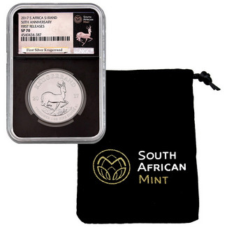 2017 South Africa Silver Krugerrand NGC SP70 First Releases Black Core