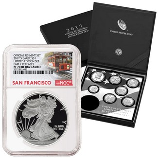 2017 S 'Limited Edition Set' Proof Silver Eagle NGC PF70 ER Trolley Label