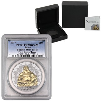 2017 $10 Laughing Buddha 2oz Silver High Relief Black Proof PCGS PR70 DCAM First Day
