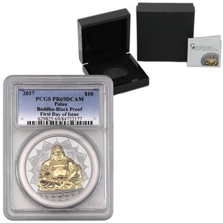 2017 $10 Laughing Buddha 2oz Silver High Relief Black Proof PCGS PR69 DCAM First Day