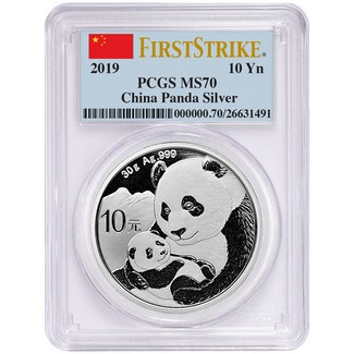 2019 Silver China Panda PCGS MS70 First Strike Flag Label
