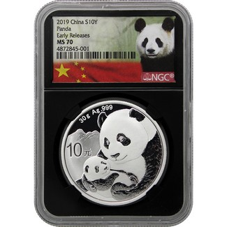2019 Silver China Panda NGC MS70 Early Releases Black Core Panda Label