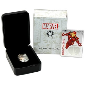 2019 2oz Silver Antiqued High Relief Coin Marvel Ironman Mask