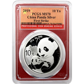 2019 Silver China Panda PCGS MS70 First Strike Red Picture Frame