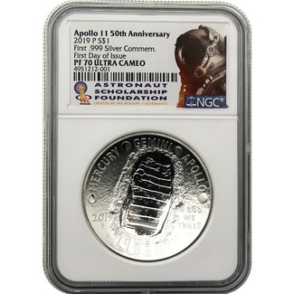 2019 P 50th Anniversary Apollo 11 Proof Silver Dollar NGC PF70 Ultra Cameo First Day Issue ASF Label