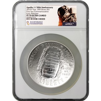 2019 P 50th Anniversary Apollo 11 5oz Proof Silver Dollar NGC PF70 UC Early Releases ASF Label