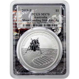 2019P Australian Anniversary of the Moon Landing Silver 1 oz Coin PCGS MS70 Space Picture Frame