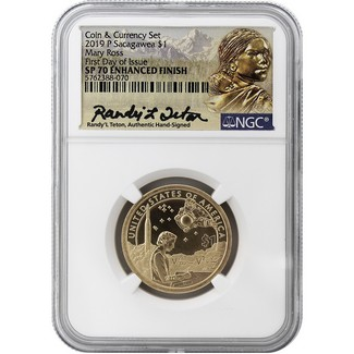 2019 P Native American Dollar NGC SP70 Enhanced Finish FDI Randy'L Teton Authentic Hand Signature