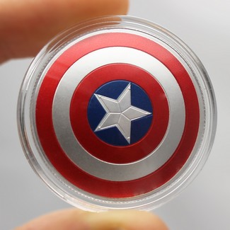 2019 Fiji Captain America Shield 10 Gram Proof Silver Domed Coin in Collector Tin