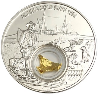 2018 $2 Alaska Gold Rush 1oz Silver Proof with 24kt Gold Leaf