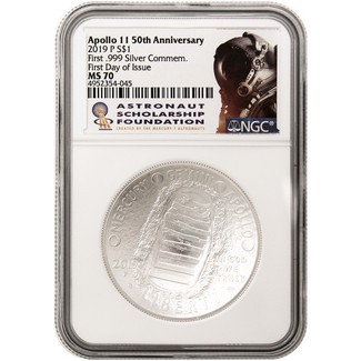 2019 P 50th Anniversary Apollo 11 UNC Silver Dollar NGC MS70 First Day Issue ASF Label