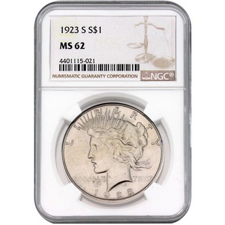 1923-S Peace Dollar NGC MS-62