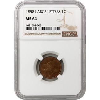 1858 Flying Eagle Cent NGC MS-64 (Large Letters)