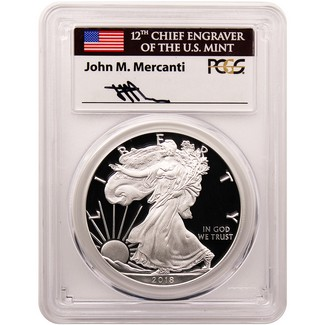 2018 W Proof Silver Eagle PCGS PR70 First Day Mercanti Signed Flag 1 of 800