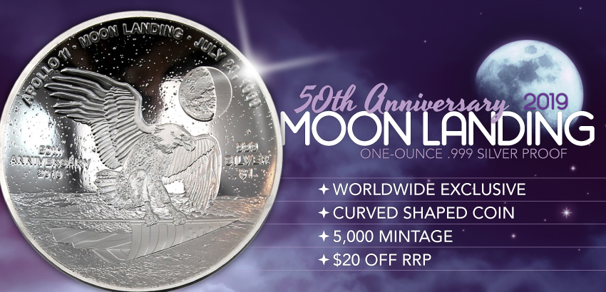 2019 $1 50th Ann. Moon Landing 1oz Silver Colorized Curved Proof